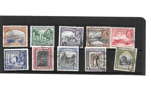 CYPRUS 1934  SET1/4pi  to 18pi SG133 to 142 FINE  USED