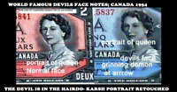 WORLD FAMOUS DEVILS FACE -  1954  BANK OF CANADA  $1  PMG 65