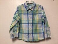 Boys Dress Shirt Size 4T Blue Green Yellow White Plaid Checks J Khaki 167