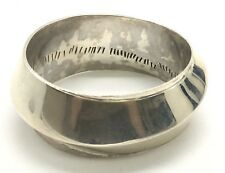Native American Sterling Silver 925 Modernist Heavy Thick Curved Bangle Bracelet