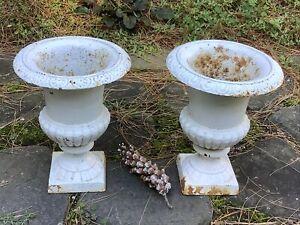 "Vintage Pair Antique French Style Cast Iron Garden Planter Urns 9"""