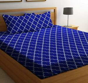 90 x 100 Inch Blue Cotton Double Bedsheet with 2 Pillow Covers, Satin Stripes