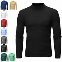 Men's Warm T-shirt Long Sleeve polo neck Jumper Undershirt High Neck Tee Tops