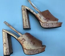 Jeffrey Campbell 6 Chika Platform Sandals Rose Gold Brocade 90s Block Heels