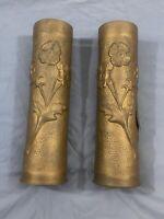 Vintage - Mid Century Brass Flower Vase - Hand Made - Set of 2