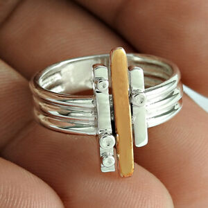 925 Sterling Silver HANDMADE Jewelry Gold silver platinum Ring Size 10 U65