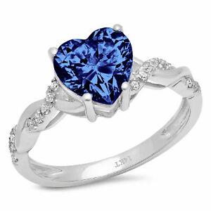 2.19 ct Heart Twisted Halo Tanzanite Stone Promise Wedding Ring 14k White Gold