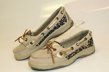 Sperry Top-Sider Angelfish Kids Girls 2 33.5 Beige Leather Boat Shoes Yg47147