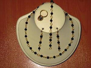 Handmade Fashion Jewelry Necklace Bracelet Earrings+Free Ring,Black Onyx Gemston
