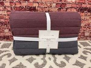POTTERY BARN BOLD RUGBY REVERSIBLE TWIN QUILT MAROON RED GREY STRIPE