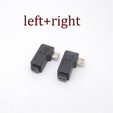 90 Degree Left &Right Angle Micro USB B Male to Female Plug Adapters charger 2pc