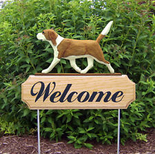 Beagle Dog Breed Oak Wood Welcome Outdoor Yard Sign Red/White