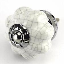 Porcelain Cabinet Knobs, Drawer Handles Vintage or Knob Hardware Chrome Set/12