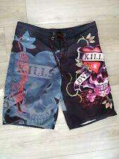 Ed Hardy Mens Surf Die Board Shorts Skull Hearts Love Kills Slowly Size 34