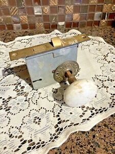Antique Brass and Porcelain Door Knob Set with Key Mortise Door Plate