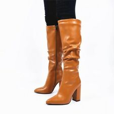 Womens Block Heels Pointed Toe Knee High Riding Boots Zip Side Clubwear Shoes