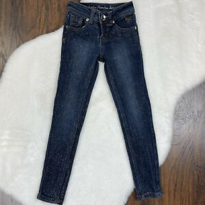 Justice Girls Size 6S Simply Low Jeggings Sparkle Glitter Medium Wash Stretch