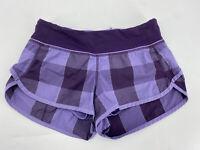Lululemon Womens Sz 2 Speed Up Shorts Purple Plaid Lined Running Athletic