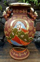 """Vintage' Japanese Emperor/Empress Vase SATSUMA Moriage Gold Gilded Foo Dog  10"""""""