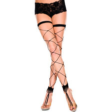 Music Legs Footless fishnet stockings with toe ring - Bodystocking & Catsuit
