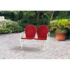 Retro Metal Glider Porch Bench Chair Frame Vintage Outdoor Patio Pool Deck Red