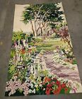 """48""""X 31""""Mere Cie Wool Hand Woven Tapestry Wall Hanging Floral Vintage Signed"""
