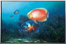 Barsche im Aquarium, Realismus Öl-Malerei 60 x 90 cm, Lars Nielsen Dänemark