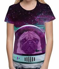 Astro-Pug Space Dog Animal Lover Funny Astronaut Sci-fi Womens T Shirt