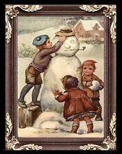 Making Victorian Snowman Miniature Dollhouse Picture