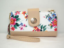 Sasha NY White Floral Crossbody/Wristlet/Wallet Holds Smartphone &Organizer NWTs
