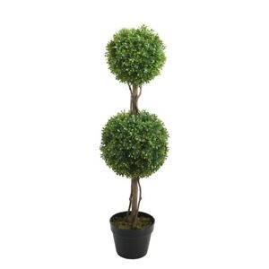 Artificial French Potted 2-Ball Boxwood Topiary Tree 90cm