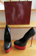 1969 HANDMADE IN ITALY BLACK/RED  PLATFORM STILETTO PUMP SIZE 39 = NEW IN BOX =