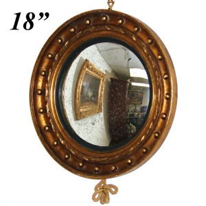 Antique French Napoleon III Witch's Eye Round Convex Wall Mirror, Gilded Wood
