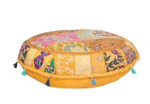 Pouf Cover Bohemian Stool Floor Chair Pouffe Embroidered Boho Ottoman Cover