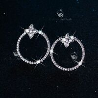 18k gold gf made with SWAROVSKI CZ crystal circle earrings chic ear jacket stud