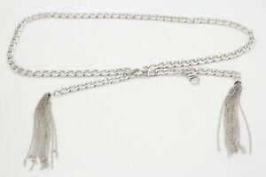 Women Metal Chain Silver Bling Fancy Tassel Fringes Buckle Belt Church XS S M