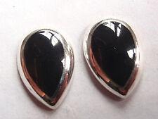 Black Onyx Teardrop 925 Sterling Silver Stud Earrings Corona Sun Jewelry
