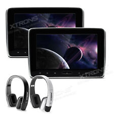 "10.1"" Car Headrest Pillow DVD Player Games Touch Panel HDMI Monitor + Headphone"