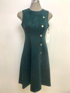 Calvin Klein NWT Modern MALACHITE GREEN Faux Suede A-Line Dress, size 12