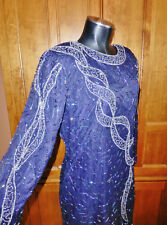 Vtg 80s ART DECO Silk Sequin Bead EMBROIDERED Cocktail Formal Evening DRESS !