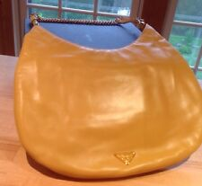 Prada Small Hobo Handbag Chain & Buckle Strap Soft Yellow Color w Cards Great!