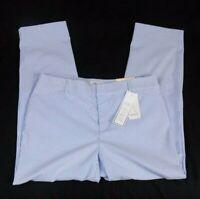 Charter Club Newport Slim Crop Pants Blue White Stripes 6 10 12 16 18 $69.50