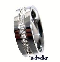 8mm Tungsten Carbide Stunning Diamond Mens Wedding Band Anniversary Ring 0.28 Ct
