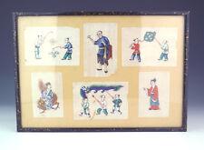Antico Cinese-Dipinto a Mano caratteri orientali-midollo o carta di riso dipinto