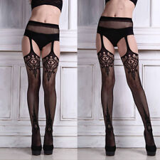 Sexy Womens Lingerie net Lace Top Garter Belt  Stretchy Thigh Stocking Pantyhose