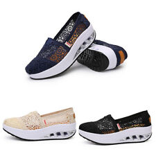 Womens Comfy Hollow Lace Mesh Casual Wedge Shoes Breathable Loafers Sneakers