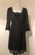 ALANNAH HILL Black Lace Trim Silk Foolish Pride Frock Slip Dress.  (Size 10)