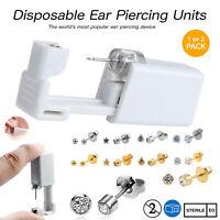 Disposable Ear Piercing Kits - Silver Gold CZ Stud Nose Earring Gun DIY Home UK