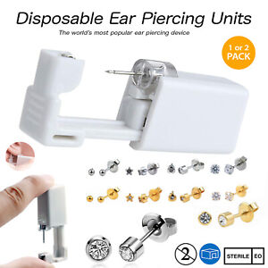 Disposable Ear Piercing Kits - Silver Gold CZ Stud Nose Earring Gun DIY Home UK