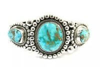 Native American Sterling Silver  Navajo Turquoise Mountain Cuff Bracelet